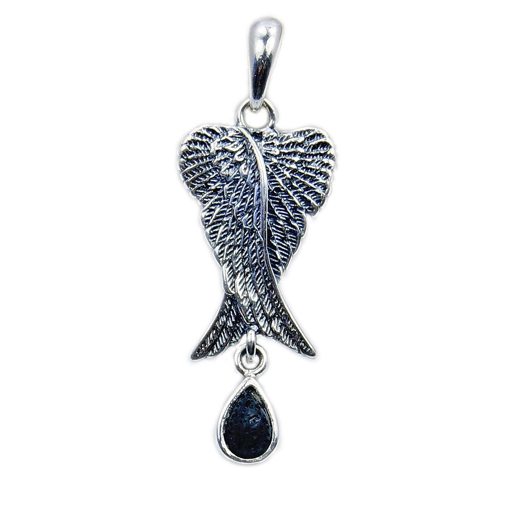 sterling and pendant jewelry dp cttw necklace white black amazon diamond angel com wings silver