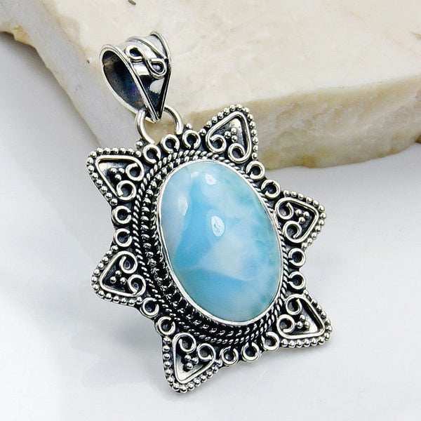 Rare Genuine Dominican Larimar & .925 Sterling Silver Pendant, Y542 - The Silver Plaza