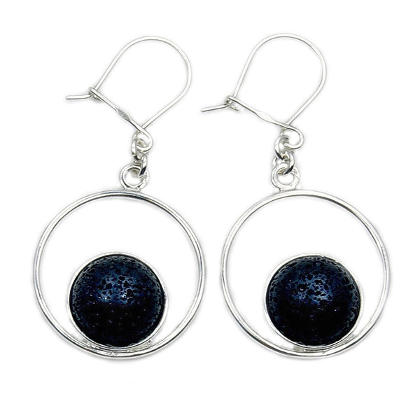 Volcanic Lava Rock & .925 Sterling Silver Dangle Earrings , Ad583 - The Silver Plaza