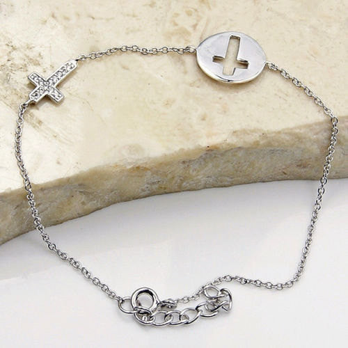 Cross Of Faith Sterling Silver Bracelet X417 - The Silver Plaza