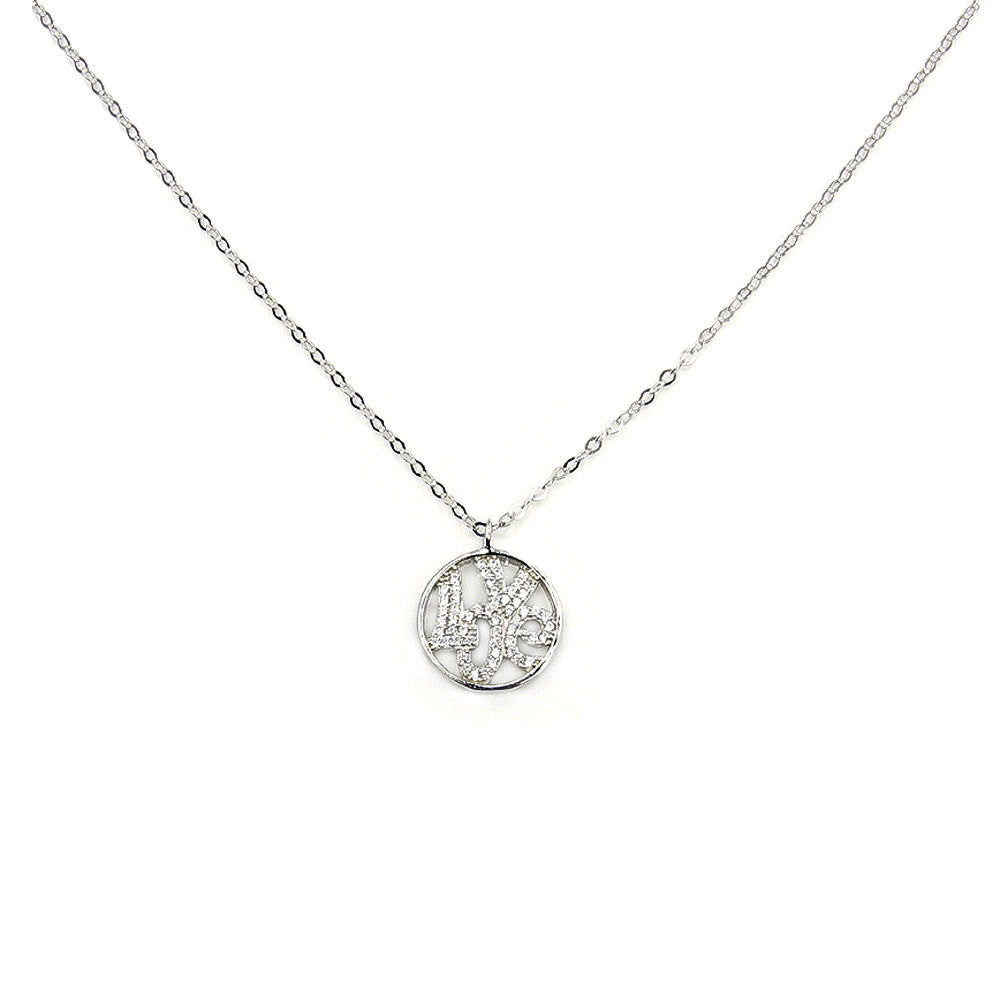 Love Promise  Gift for Her Sparkling CZ & .925 Sterling Silver Necklace, Z813 - The Silver Plaza