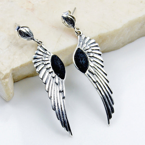 Volcanic Lava Rock & .925 Sterling Silver Angel Wings Dangle Earrings , Ad580 - Emavera
