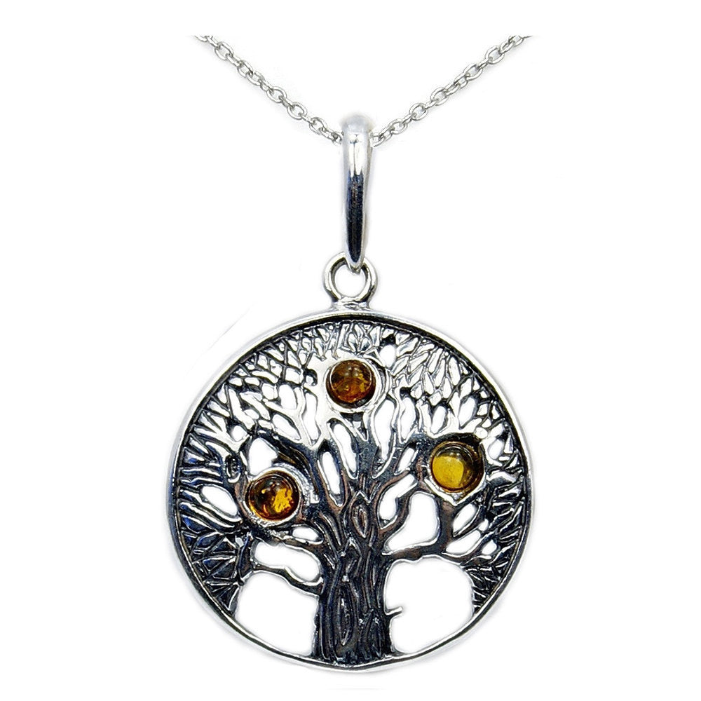 Tree of Life Baltic Amber & .925 Sterling Silver Necklace , AD600X16, AD600X18 - The Silver Plaza