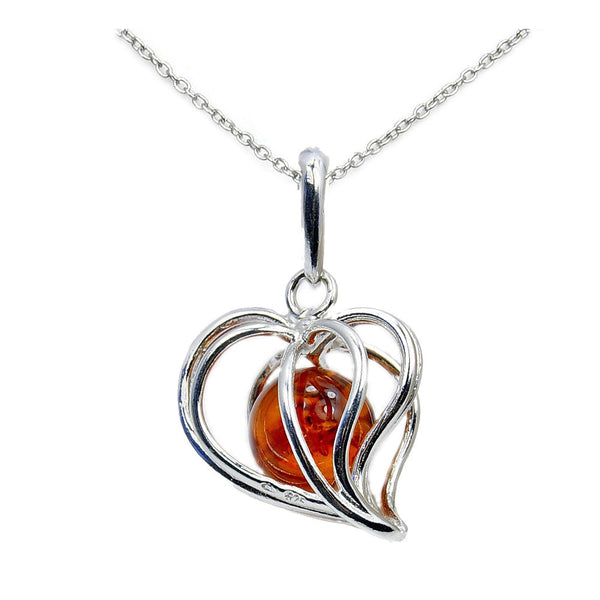 Forever In My Heart Baltic Amber & .925 Sterling Silver Heart Necklace , AD603X16, AD603X18 - The Silver Plaza