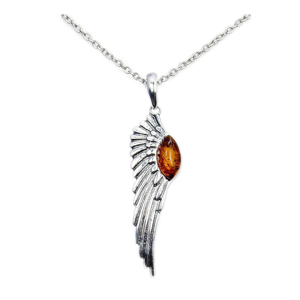 Beautiful Angel Wing Baltic Amber & .925 Sterling Silver Necklace , Ad604x16, Ad604x18 - The Silver Plaza