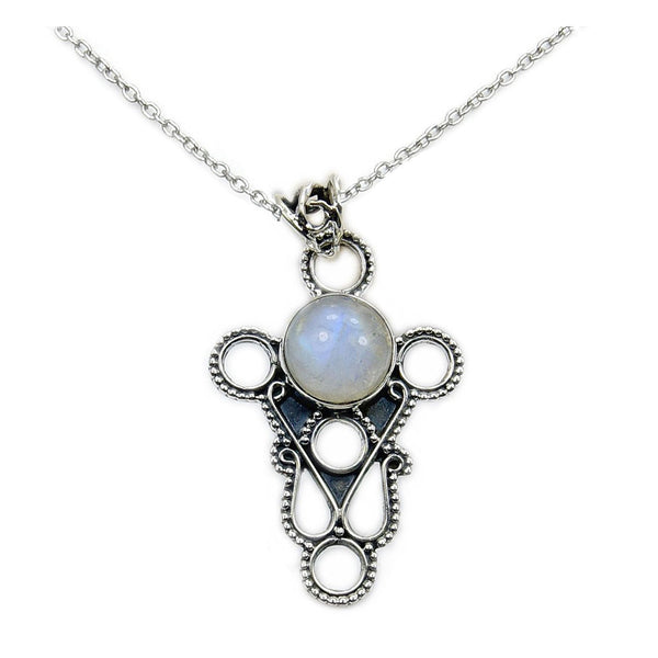 Dazzling Moonstone & .925 Sterling Silver Necklace , AA882 - The Silver Plaza