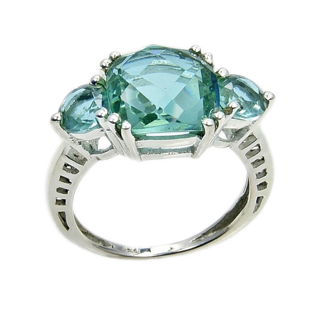 Dazzling Sterling Silver Lab Created Green Purple Color Change Alexandrite Ring Sizes 4.75 - 10 ,  AD925 - The Silver Plaza