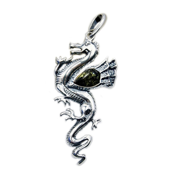 Green Baltic Amber & 925 Sterling Silver Dragon Pendant