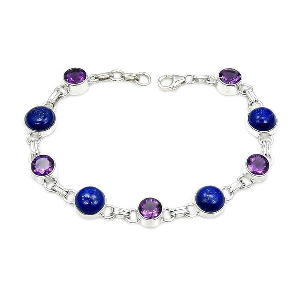 Lapis Lazuli, Amethyst & .925 Sterling Silver Bracelet , Ad886 - The Silver Plaza