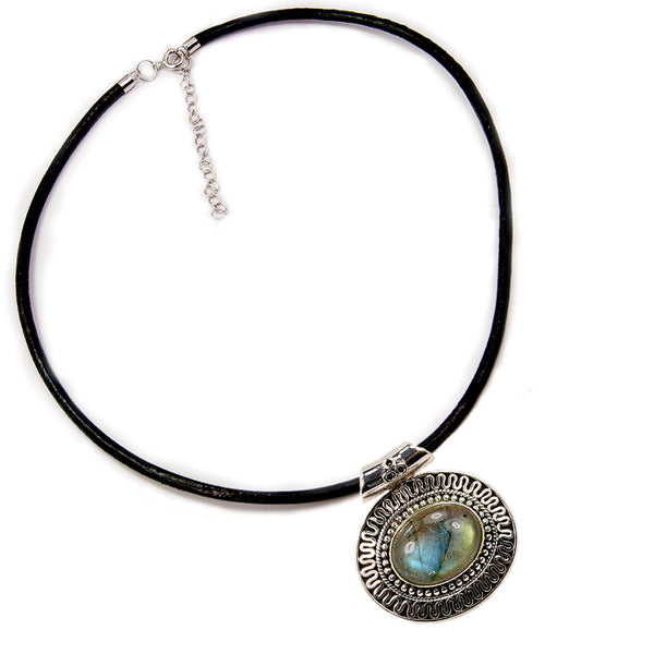 Mystical Medallion Labradorite & .925 Sterling Silver Leather Cord Necklace - The Silver Plaza