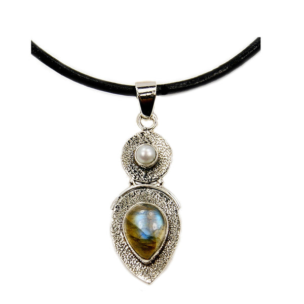 Shimmering Beauty Labradorite, Pearl & .925 Sterling Silver Necklace Leather Cord Necklace - The Silver Plaza