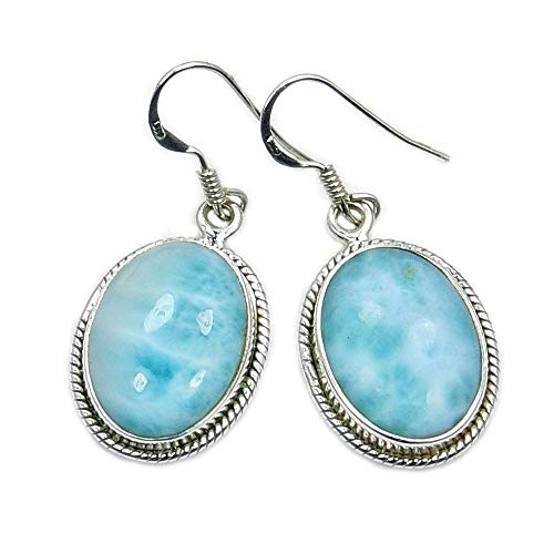 Larimar Earrings Sterling Silver Genuine Dominican Larimar Dangle Earrings