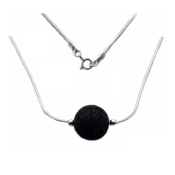 "Essential Oil Diffuser Volcanic Lava Necklace & Sterling Silver Necklace 17"" - The Silver Plaza"