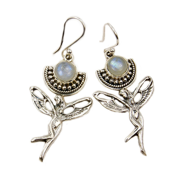 'Angelic' Moonstone Sterling Silver Dangle Earrings + More Stones - The Silver Plaza