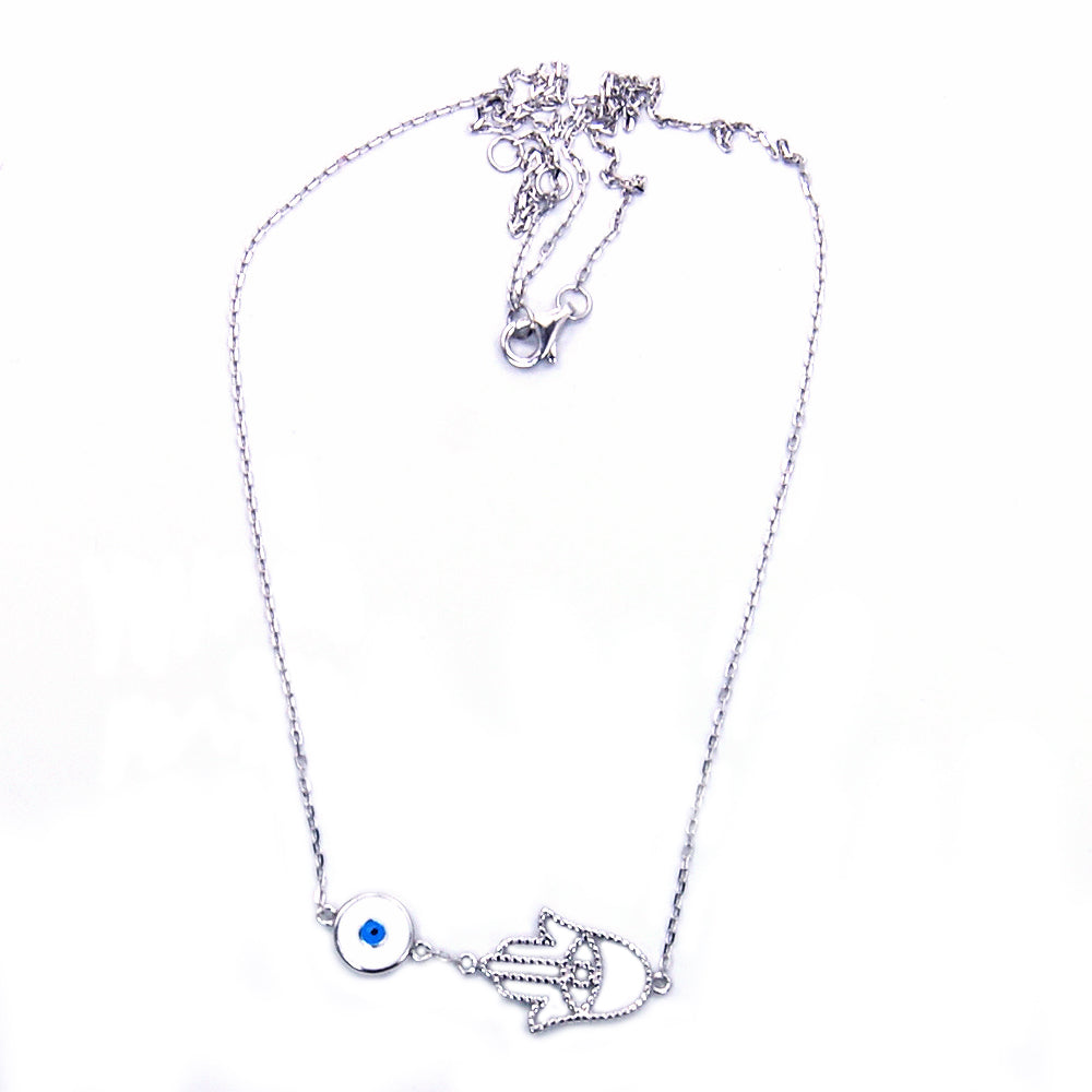 Hamsa Protective Hand of God Fatima, Evil Eye 925 Sterling Silver Necklace - The Silver Plaza