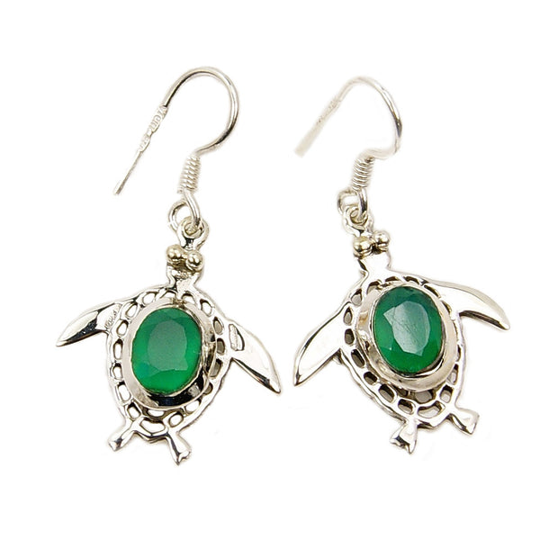 CHOOSE STONE 'Sea Turtle' Sterling Silver Dangle Earrings + MORE COLORS