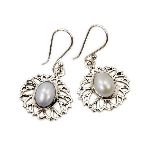 'Purity' Pearl Sterling Silver Dangle Earrings - The Silver Plaza