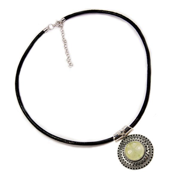 'Tribal Medallion' Prehnite & .925 Sterling Silver Pendant Leather Cord Necklace - The Silver Plaza