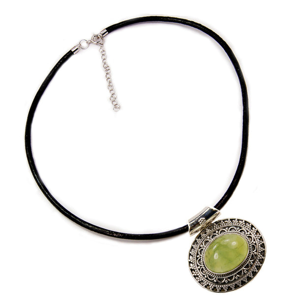 'Medallion' Prehnite & Sterling Silver Pendant Genuine Leather Cord Necklace