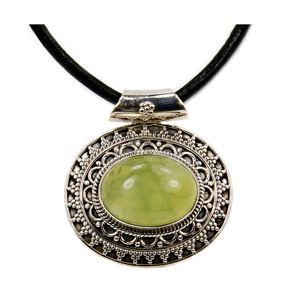 'Medallion' Prehnite & Sterling Silver Pendant Genuine Leather Cord Necklace - The Silver Plaza