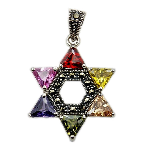 """Jewish Star of David"" Multi Color CZ, Marcasite & 925 Sterling Silver Pendant - The Silver Plaza"