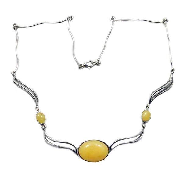 Elegant Sterling Silver Natural Butterscotch Baltic Amber Necklace - The Silver Plaza