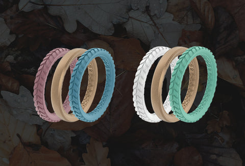 Textured Stackable Silicone Rings