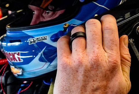 Jeb Burton wears a silicone Groove Ring while racing
