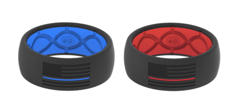 Thin Line silicone Rings fireman Police