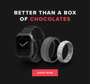 BETTER THAN A BOX OF CHOCOLATES: SHOP NOW. BLACK WATCH BAND, ZEUS RING, WINTER ROSE ASPIRE RING