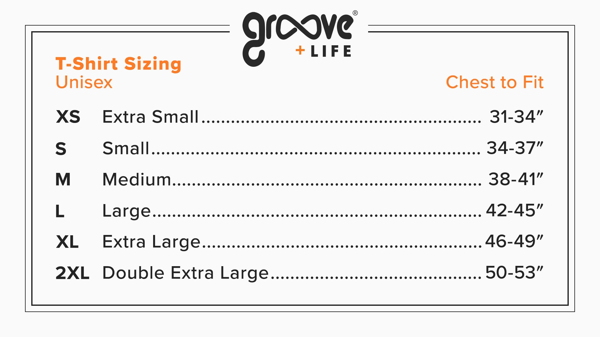 Groove Gear Sizing Chart