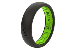 Thin Solid Midnight Black/Green - Groove Life Silicone Wedding Rings