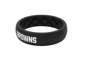 Thin NFL Cleveland Browns Black - Groove Life Silicone Wedding Rings