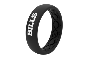 Thin NFL Buffalo Bills Black - Groove Life Silicone Wedding Rings
