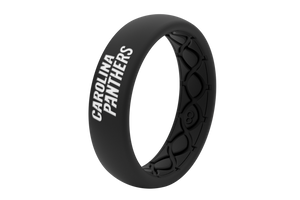 Thin NFL Carolina Panthers Black - Groove Life Silicone Wedding Rings