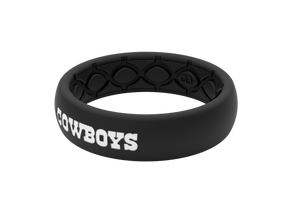 Thin NFL Dallas Cowboys Black - Groove Life Silicone Wedding Rings