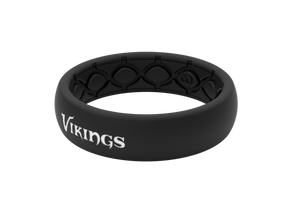 Thin NFL Minnesota Vikings Black - Groove Life Silicone Wedding Rings
