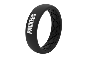 Thin NFL Green Bay Packers Black - Groove Life Silicone Wedding Rings