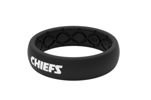 Thin NFL Kansas City Chiefs Black - Groove Life Silicone Wedding Rings