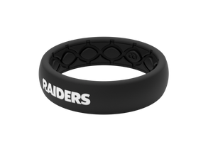 Thin NFL Oakland Raiders Black - Groove Life Silicone Wedding Rings