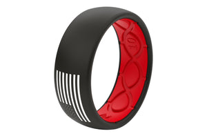 Groove America Silicone Ring - Black/Red with White Flag