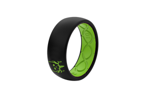 Bone Collector Custom Collection Black/Green Silicone Rings angle