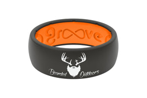 Original Bearded Outdoors Black/Orange - Groove Life Silicone Wedding Rings