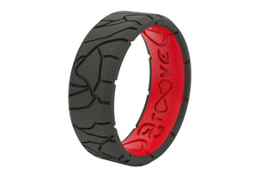 Edge Dimension Fracture Black/Red - Groove Life Silicone Wedding Rings
