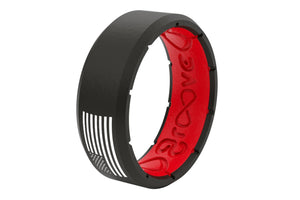 Edge America Black/Red/White - Groove Life Silicone Wedding Rings