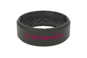 Edge I Am Second Pink/Black - Groove Life Silicone Wedding Rings