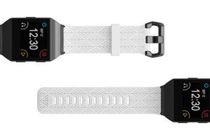 Fitbit Watch Band Ionic Dimension Arrows White - Groove Life Silicone Wedding Rings
