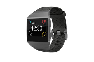Fitbit Watch Band Ionic Dimension Topo Black - Groove Life Silicone Wedding Rings