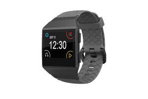 Fitbit Watch Band Ionic Dimension Topo Deep Stone Gray - Groove Life Silicone Wedding Rings