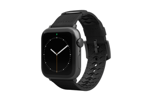 Vulcan Obsidian Black Leather Apple Watch Band Black/Black - Groove Life